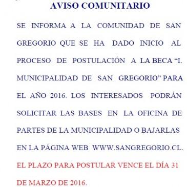 """BECA """"I. MUNICIPALIDAD  DE   SAN   GREGORIO"""" PARA EL  AÑO  2016."""