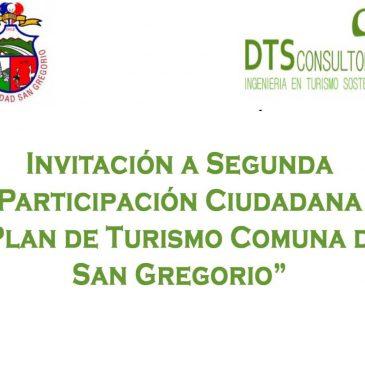 """Invitación a Segunda Participación Ciudadana """"Plan de Turismo Comuna de San Gregorio"""""""