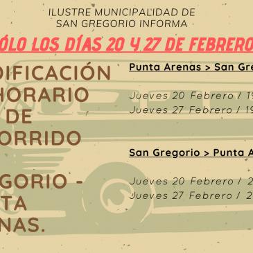 MODIFICACIÓN DE HORARIO BUS DE RECORRIDO SAN GREGORIO – PUNTA ARENAS.