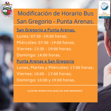 Modificación de Horario Bus San Gregorio – Punta Arenas.