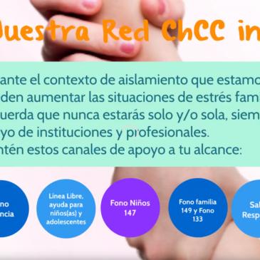 Chile Crece Contigo informa los canales de apoyo para niñ@s, adolescentes, jóvenes y personas adultas.