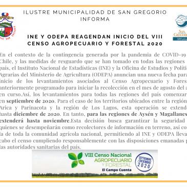 INE y ODEPA reagendan inicio del VIII Censo Agropecuario y Forestal 2020