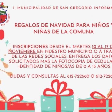 Regalos de Navidad para los niños y niñas de la comuna.