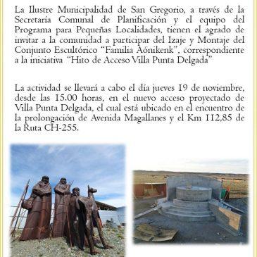 """Izaje y montaje de la Escultura """"Familia Aónikenk""""."""