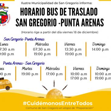 Modificación Horario Bus de Traslado San Gregorio- Punta Arenas.