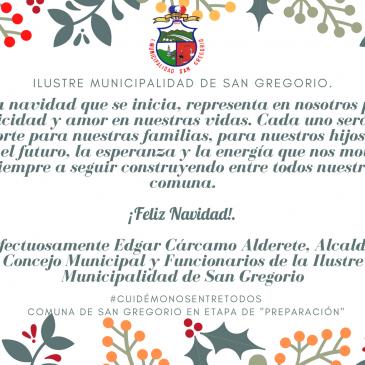 Saludo de Navidad, Ilustre Municipalidad de San Gregorio.