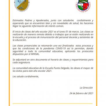 Comunicado Escuela Punta Delgada.