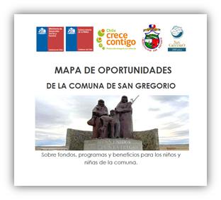 Mapa de Oportunidades 2021 de la  comuna de San Gregorio, sobre fondos, programas y beneficios para los niños y niñas de la comuna.