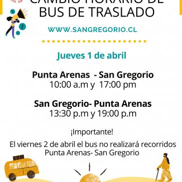 Cambio horario de bus de traslado.
