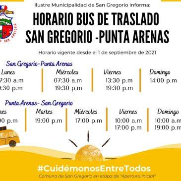 Cambio de Horario , bus de traslado San Gregorio , Punta Arenas.