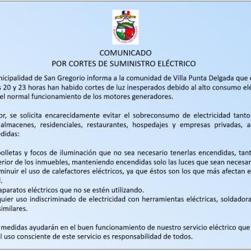 COMUNICADO POR CORTES DE SUMINISTRO ELÉCTRICO