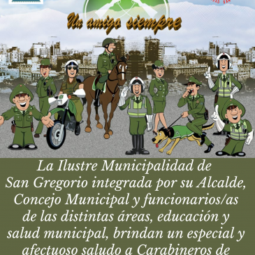 Saludo a Carabineros de Chile en su 94° aniversario.