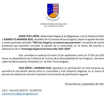 """Ilustre Municipalidad de San Gregorio Informa: Taller """"ERD San Gregorio, la comuna que queremos""""."""